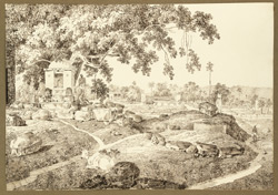 Another view from the encampment at Bihar (Bihar), with shrine beneath a tree. 19 December 1824